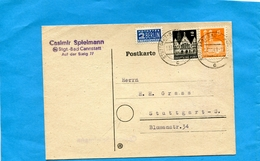 "Marcophilie- ALLEMAGNE -BERLIN-Carte-commerciale "" ""spielmann""cad ""nov 1949 Stuttgart-3 Stamps-N°710A TAXE+N°41-45 - [5] Berlino"