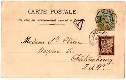 VITRE (35) Sur BLANC 5c . CHATEAUBOURG (35) Sur TAXE 10c + TRIANGLE.1905. - Postage Due