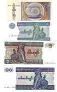 MYANMAR 0.5 1 5 10 KYAT ND (1995) P-68,69,70,71 UNC SET [MM102a-105a] - Myanmar