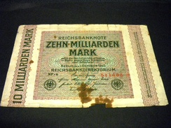 ALLEMAGNE 10 Milliarden  Mark 01/10/1923 , Pick N° 126 A , GERMANY , Inflation - [ 3] 1918-1933 : République De Weimar