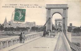 CPA 84  AVIGNON PONT SUSPENDU SUR LE RHONE 1911 - Avignon (Palais & Pont)
