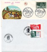 H517  Fête Du Timbre 2 Enveloppes 1964 Et 95 - FDC