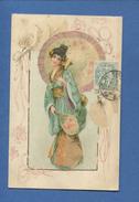 Ravissante CPA Chromo Illustrateur Attribuable Kirchner ART NOUVEAU Femme Ombrelle Japonaise Kimono Japon Finement Dorée - Kirchner, Raphael