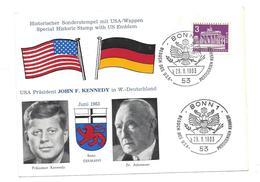 Sur Carte Postale -ALLEMAGNE - BERLIN  - VENUE DU PRESIDENT J.F. KENNEDY / ADENAUER - Juin 1963 - Voir Scan Recto/verso - Covers & Documents