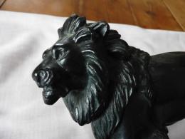 Encrier Ancien En Métal D'alliage,  Figuratif Animalier  LION , Signé A. Bossu - Encriers
