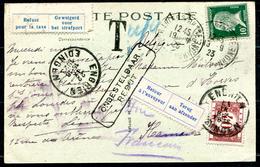 (J) - BELGIQUE - 1923 - CP Française Taxée, Refusée à La Distribution Et Retournée à L'envoyeur (cf.description)