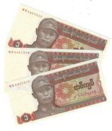 MYANMAR 1 KYAT ND (1990) P-67a UNC 3 PCS [MM101a] - Myanmar