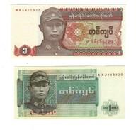 BURMA (MYANMAR) 1 KYAT ND (1972 & 1990) P-56a 67a UNC 2 PCS - Myanmar