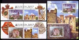 BULGARIA / BULGARIE - 2017 - EUROPA - Fortresses - Set + Vignet + Bl** - Europa-CEPT