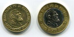 PADRE PIO YEAR 2000 1 EURO + 50 Cents (2) TEST TRIAL ESSAI PROBE - SUPER RARE - UNC - BEATO PADRE PIO DA PIETRELCINA - Altri