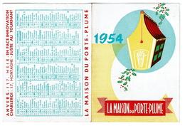 Calendrier 1954, La Maison Du Porte-Plume - Publicité Sheaffer's Snorkel - 2 Scans - Calendriers