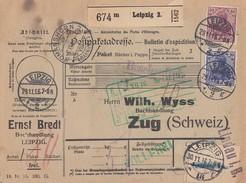 DR Paketkarte Mif Minr.87IIa,92IIb Leipzig 29.11.16 Geprüft Gel. In Die Schweiz - Briefe U. Dokumente
