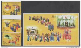 VIETNAM, 2015, MNH, UNESO HERITAGE SITES, HUN KINGS, COSTUMES, 3v+S/SHEET - Sonstige