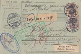 DR Paketkarte Mif Minr.89I,91I Berlin 27.9.09 Gel. In Schweiz - Briefe U. Dokumente