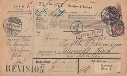 DR Paketkarte Für 2 Pakete Mif Minr.47, 3x 50, Davon 1x ZW Unten Königsee (Thüringen) 14.10.97 Gel. In Schweiz - Briefe U. Dokumente