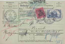 DR Paketkarte Mif Minr.93I,95AI Bietigheim 8.11.08 Gel. In Schweiz - Briefe U. Dokumente