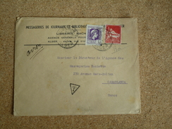 Enveloppe Affranchie Algérie Pour Casablanca Oblitération Alger Taxée à L'arrivée Au Maroc - Algérie (1924-1962)