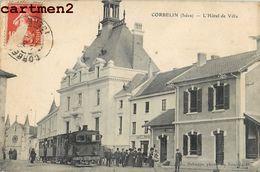 CORBELIN HOTEL DE VILLE CAFE TRAIN CHEMIN DE FER LOCOMOTIVE  38 - Corbelin