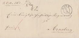 Preussen Brief K2 Hamm 5.2. Gel. Nach Arnsberg - Preussen