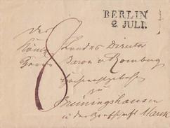Preussen Brief L2 Berlin 2.7. Gel. Nach Brüningshausen - Preussen