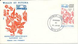 Wallis Et Futuna FDC 28-6 1983 Bangkok Exhibition 1983 With Cachet - FDC