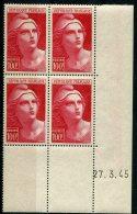 2361   FRANCE N° 733  Marianne De Gandon  100 F    Du 27/03/45   TTB - Dated Corners