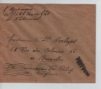 Lettre De Fortune écrite De Watermael Griffe Port Payé V.Bruxelles C.d'arrivée BXL 16/11/1918 PR4570 - Postmark Collection