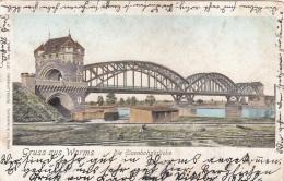 Litho Halt Gegen Das Licht Karte - Gruss Aus WORMS - Die Eisenbahnbrücke Ge.1903 - Opere D'Arte