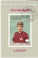 Bf. Ajman 1969 Calcio Soccer Milan G. Rivera Football Block Sheet Perf. - Ajman