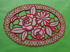 Napperon Ovale 24cm Coloris Rouge Vintage - Napperons