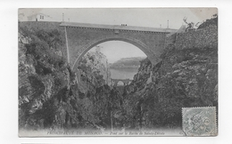 (RECTO / VERSO) MONACO EN 1905 - PONT SUR LE RAVIN DE STE DEVOLTE - CACHET AMBULANT TRI FERROVIAIRE - CPA VOYAGEE - Monaco