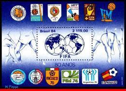 Ref. BR-1921 BRAZIL 1984 FOOTBALL-SOCCER, FIFA, 80TH ANNIV.,SYMBOLS, OF WORLD CUPS, SPORTS, MAPS, S/S MNH 1V Sc# 1921 - Brasilien