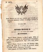 1870 DECRETO VITTORIO EMANUELE II RE D'ITALIA - NUOVI QUADRI DEL PERSONALE INSEGNANTE ADDETTO AL COLLEGIO MILITARE IN NA - Decreti & Leggi