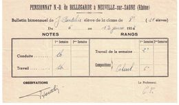 1936 BULLETIN BIMENSUEL ELEVE CLASSE DE 8e   PENSIONNAT INSTITUTION NOTRE-DAME DE BELLEGARDE NEUVILLE SUR SAONE RHONE - Diploma & School Reports