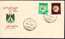 16-9-1971; Omar El Mukhtar;  Michel 340 + 341, FDC , Lot 48072 - Libia