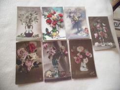 LOT DE 7 CARTES ..ILLUSTRATIONS..FANTATSIES FLEURS - Cartes Postales