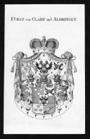 """""""Fürst Von Clary Und Aldringen"""" - Clary Und Aldringen Wappen Adel Coat Of Arms Kupferstich Antique Print Heraldry Herald - Stiche & Gravuren"""
