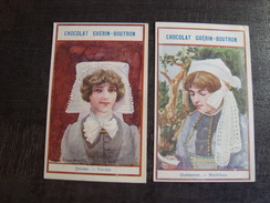 Lot De 2 Chromos Chocolat GUERIN-BOUTRON GUEMENE JONSAC - Guerin Boutron