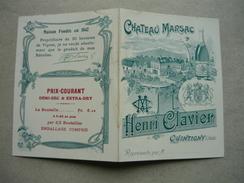 JURA 39  DOCUMENT PUBLICITAIRE HENRI CLAVIER CHATEAU MARSAC VINS MOUSSEUX À QUINTIGNY ( JURA ) Carte De Représentation - France