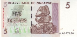 ZIMBABWE 5 DOLLARS 2007 P-66 UNC  [ZW157a] - Simbabwe
