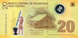 """NICARAGUA 20 CORDOBAS 2012 P-202b UNC WHITE """"20"""" IN WINDOW [NI498b] - Nicaragua"""