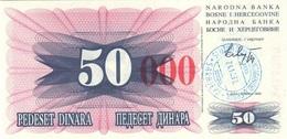 BOSNIA & HERZEGOVINA 50000 DINARA 1993 P-55h XF/AU HANDSTAMP, SARAJEVO [BA055h] - Bosnia And Herzegovina