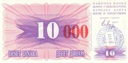 BOSNIA & HERZEGOVINA 10000 DINARA 24.12.1993 P-53h XF/AU HANDSTAMP, SARAJEVO [BA053d] - Bosnia And Herzegovina