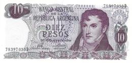 ARGENTINA 10 PESOS 1974 P-295a UNC SERIES D, SIGN: PORTA &  MONDELLI [ AR295a4 ] - Argentine