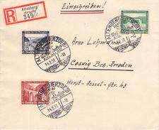 DEUTSCHES REICH - RECO 14.2.1937 ALTENBERG -> COSWIG Mi #634, 639, 641 - Briefe U. Dokumente