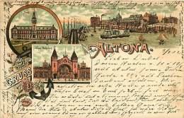 ALLEMAGNE 070517 - HAMBURG - GRUSS AUS ALTONA - Post Neuer Bahnhof Fischereilhafen Und Auctionshalle 1902 - Altona