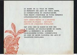 """Dieppe Invitation à L'Inauguration De Exposition """"Cent Chefs-d'Oeuvre De L'Ancienne Imagerie Française""""le 20/06/1967 - Documents Historiques"""