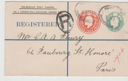 GBE043 / Firmen-Ganzsache 1904 Nach Paris, Eduard VII Aufgewertet Durch Markenzudruck - Briefe U. Dokumente