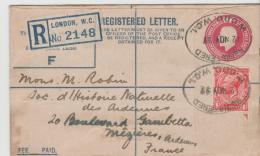 GBG048 / Einschreiben Ganzsache 38, Aufgewertet Nach Frankreich - 1902-1951 (Könige)
