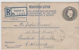 GBG047 / Einschreiben Ganzsache 58 (140 X 24) Woking - Richmond  1955 - Briefe U. Dokumente